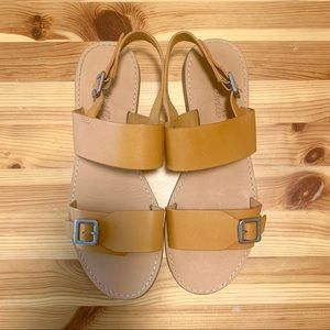 MADEWELL Boardwalk Leather Buckle Sandals Mustard